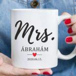 Mrs. feliratos egyedi bögre